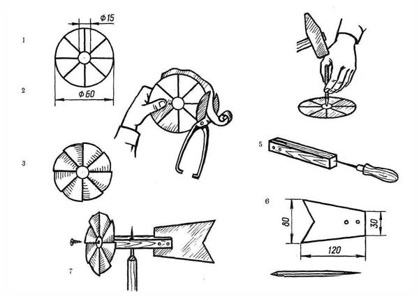 Конструкция флюгера проста: