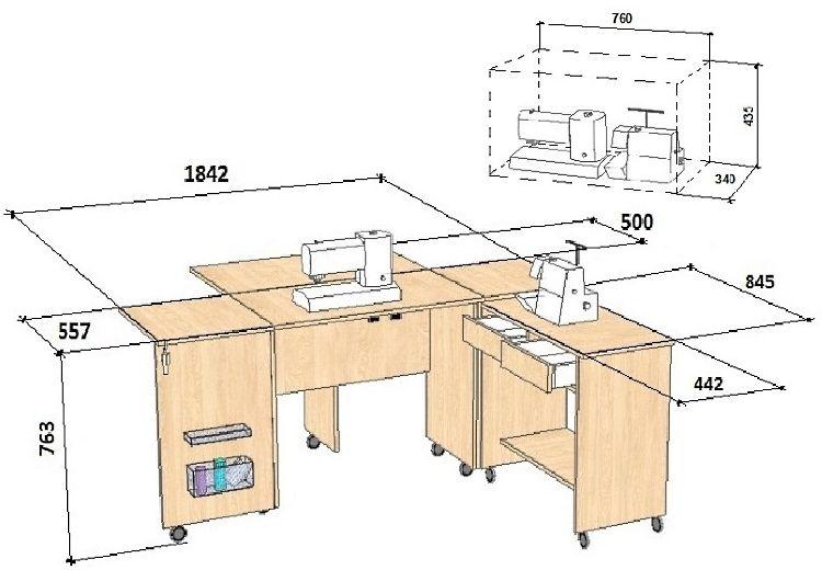 Чертеж стола для швейной машинки.