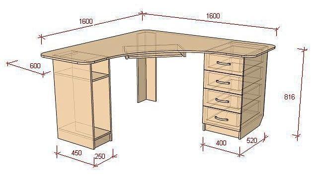 Чертеж углового компьютерного стола.