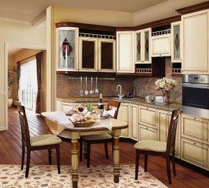 Дизайн кухни в коричнево-бежевых тонах
