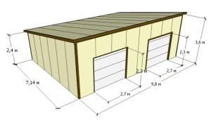 проект гаража на 2 места