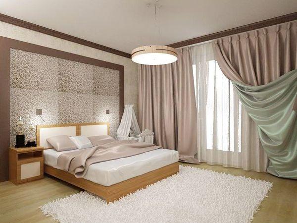Молдинги контрастного цвета в интерьере спальни