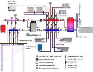 """Схема работы насоса системы """"воздух-вода"""" (нажмите для увеличения)"""