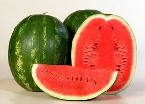 """Арбуз """"Каристан"""", округлый плод зеленого цвета с темными полосами"""