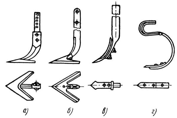 Лапы культиваторов: а - плоскорежущая стрельчатая, б - универсальная, в - рыхлительная жесткая, г - рыхлительная пружинная