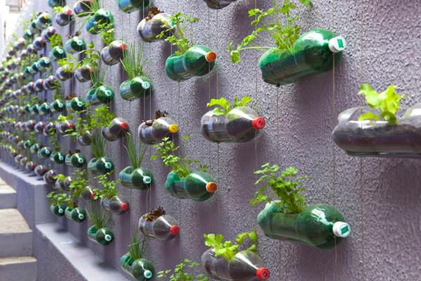 Так выглядит вертикальная клумба из пластиковых бутылок