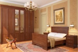 Мебель в этой спальне выдержана в классическом стиле исполнения