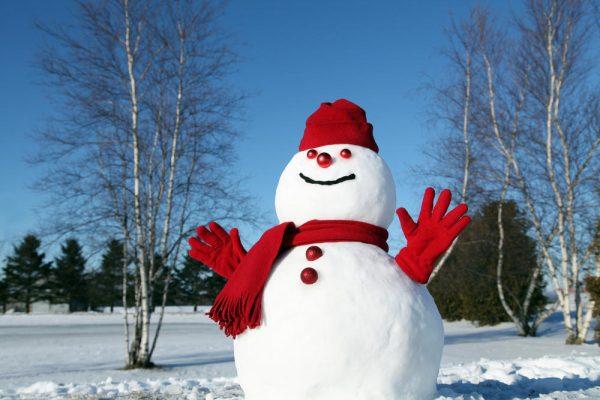 Бело-красный весёлый снеговик