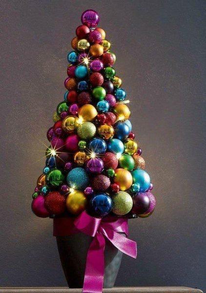 Ёлка из новогодних шариков