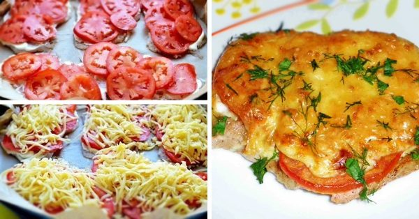 Отбивная из говядины с помидорами и сыром