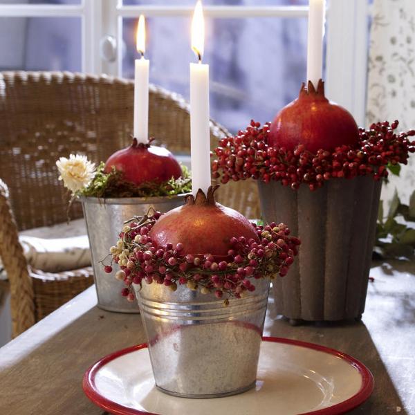 Необычные свечи из граната и рябины