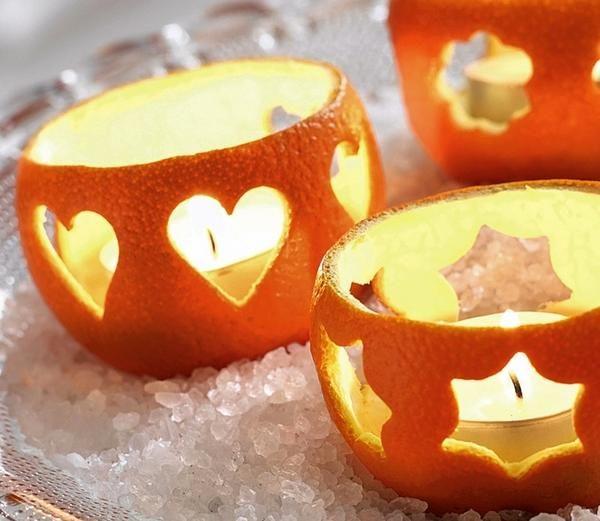 Праздничные апельсиновые подсвечники
