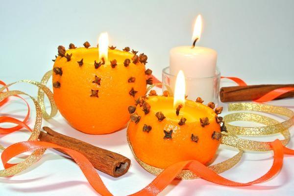 Подсвечник из кожуры апельсина