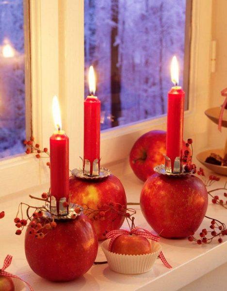 Яблочные подсвечники