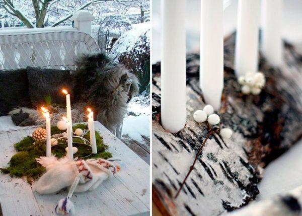 Свечи на бревне