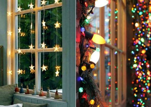 Как украсить окна светящимися гирляндами