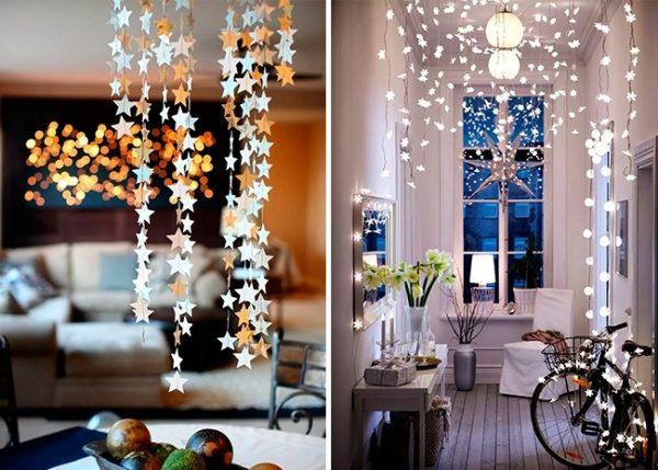 Украшение комнаты звёздами и огоньками