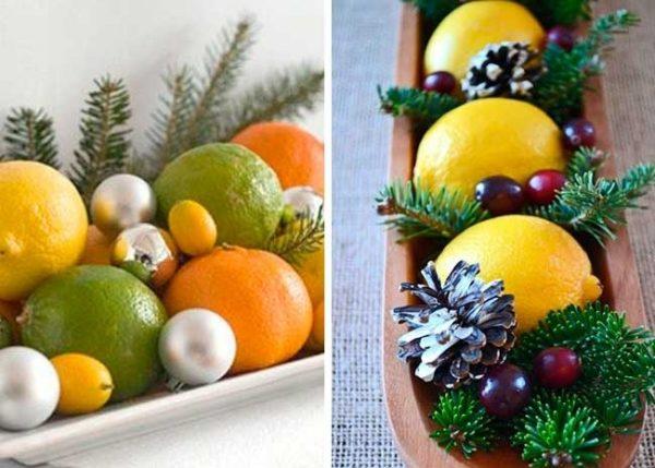 Мандарины и лимоны на тарелочках