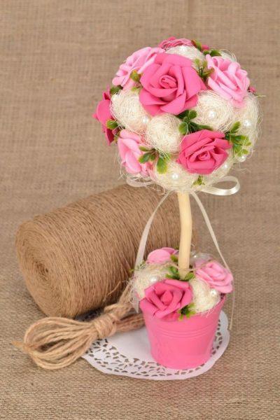Цветы из фоамирана и сизаль