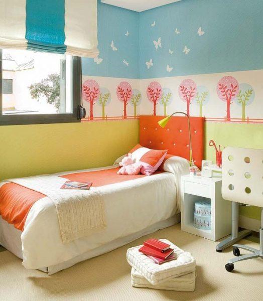 Комната в оранжево-синем цвете