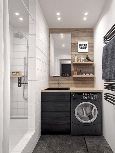 Стена — разделитель зон в ванной комнате