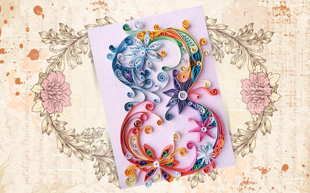 Оригинальная красивая открытка на 8 марта своими руками, открытки бумагопластика открытка