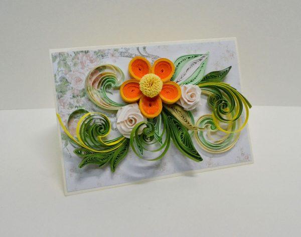 Бутон и листья на открытке