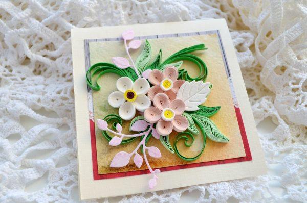 Красивые цветы на открытке