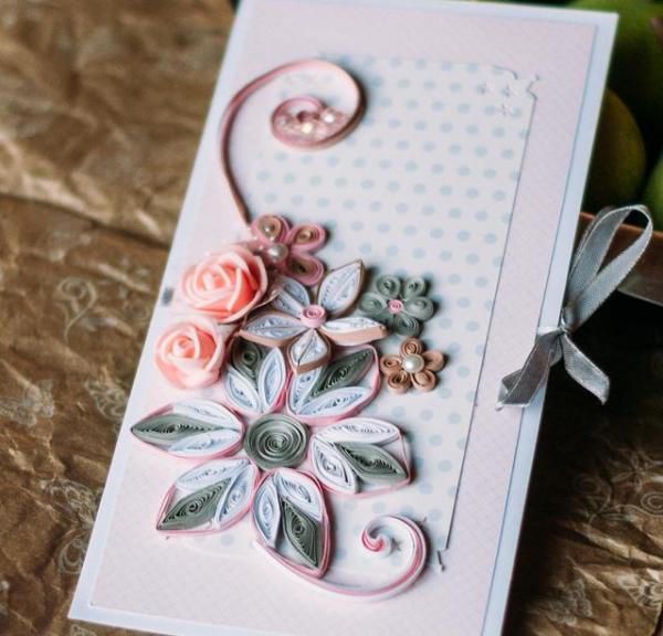 Стильный букет в оформлении открытки