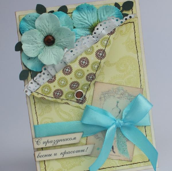 Голубые цветочки на открытке