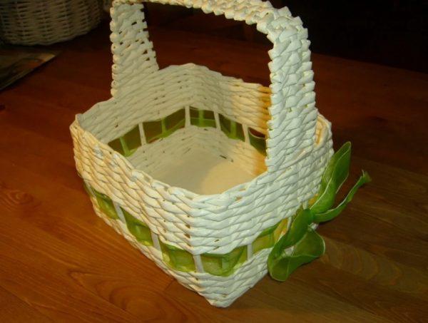 Декоративная корзинка из газетных трубочек
