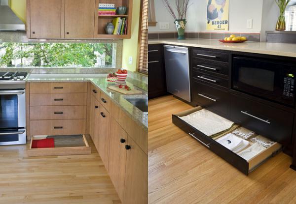Полки в нижней части кухонного гарнитура