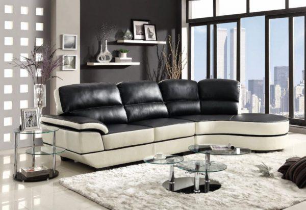 Кожаный диван в интерьере