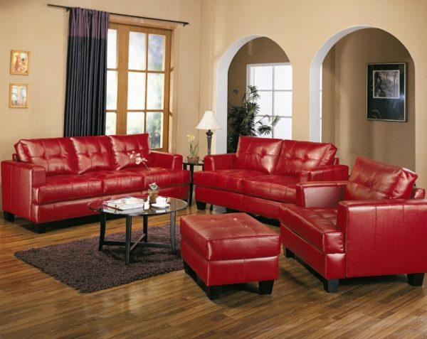 Красный комплект мягкой мебели