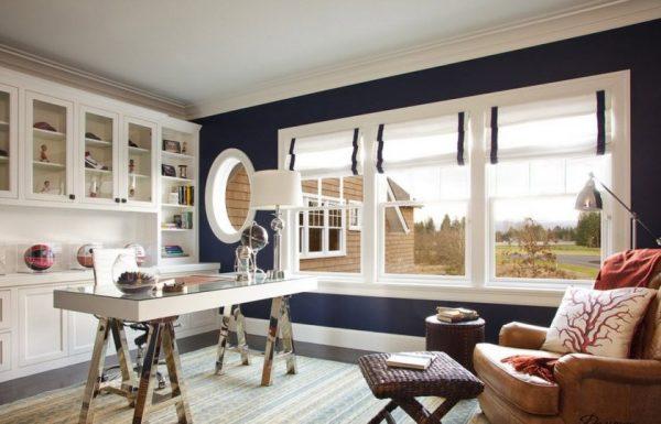 Бело-синие шторы