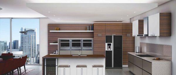 Дерево и чёрный холодильник