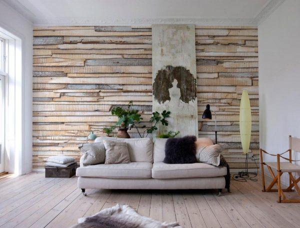 Имитация стены из деревянных брусьев