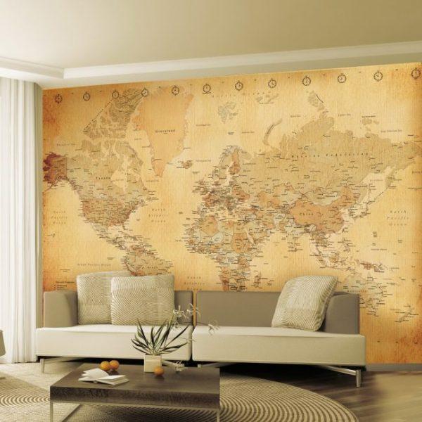 Карта мира в песочном оттенке