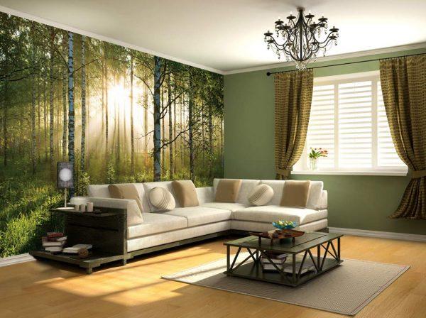 Изображение леса на фотообоях
