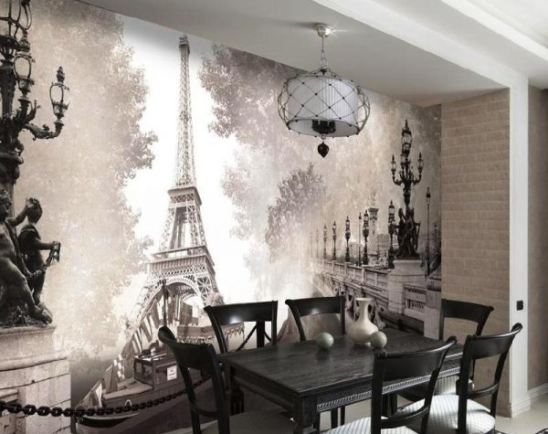 Эйфелева башня на кухне на фотообоях
