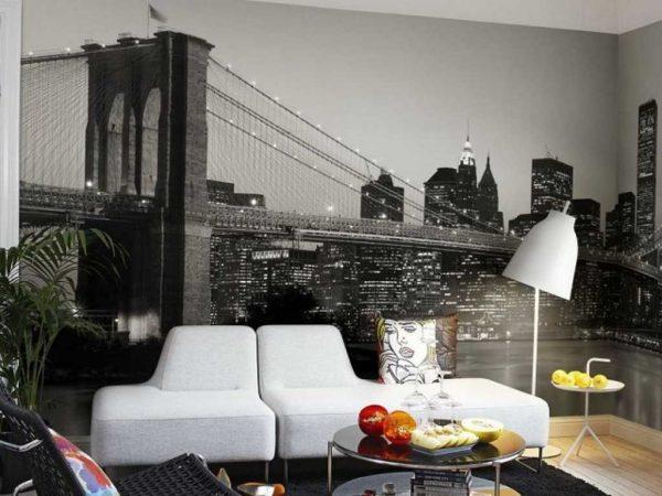 Чёрно-белый мост на фотообоях