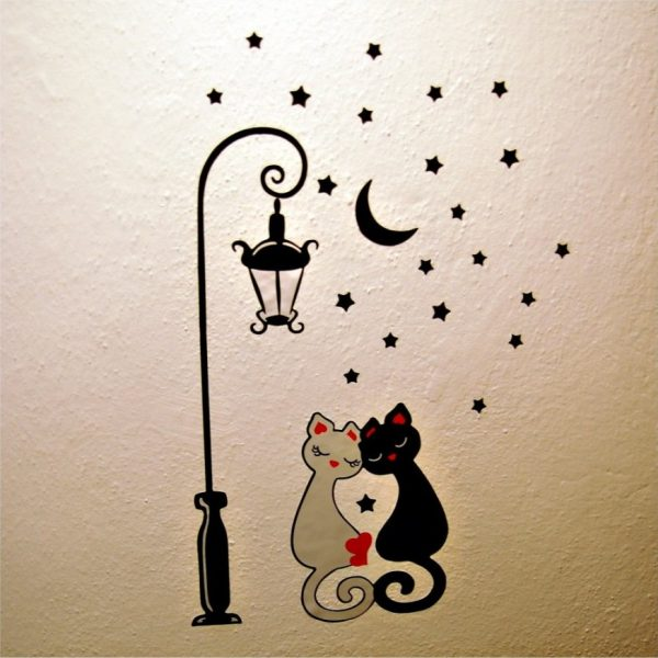 Виниловые наклейки с котами под луной