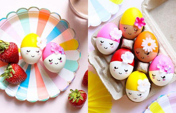 Девочки с цветочками на яйцах