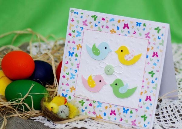 Птички на открытке к Пасхе