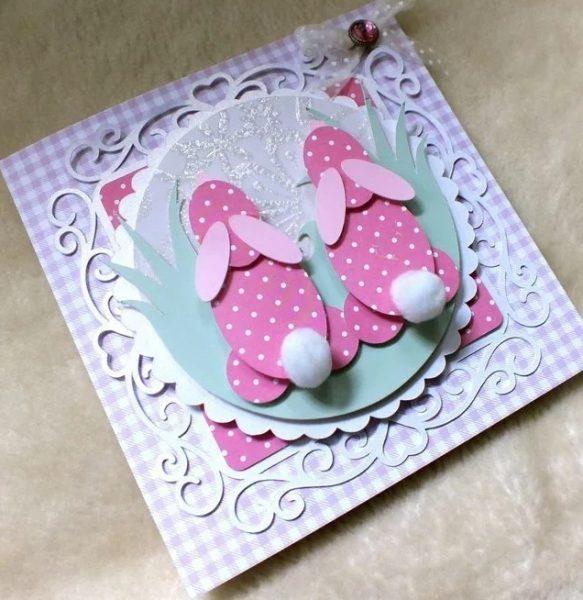 Пасхальные зайчики на открытке