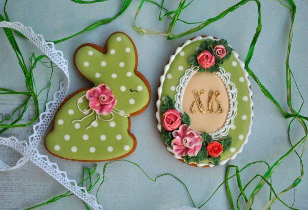 Печенье с зелёной глазурью на Пасху