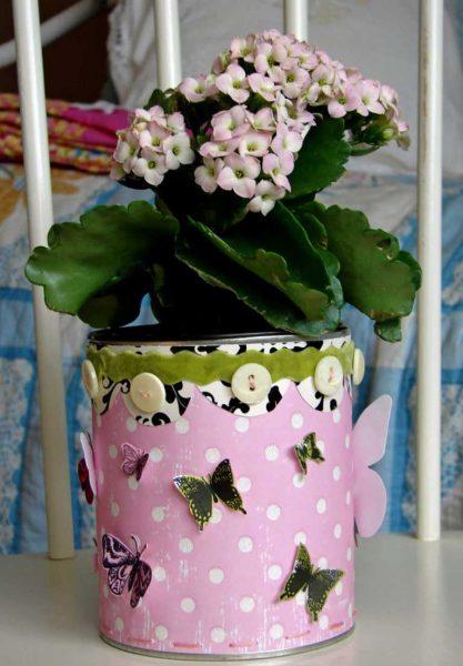 Декор бумагой цветочного горшка