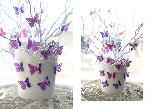 Декоративные бабочки на горшочке