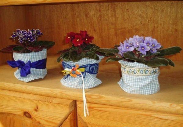 Декор тканью цветочных горшков