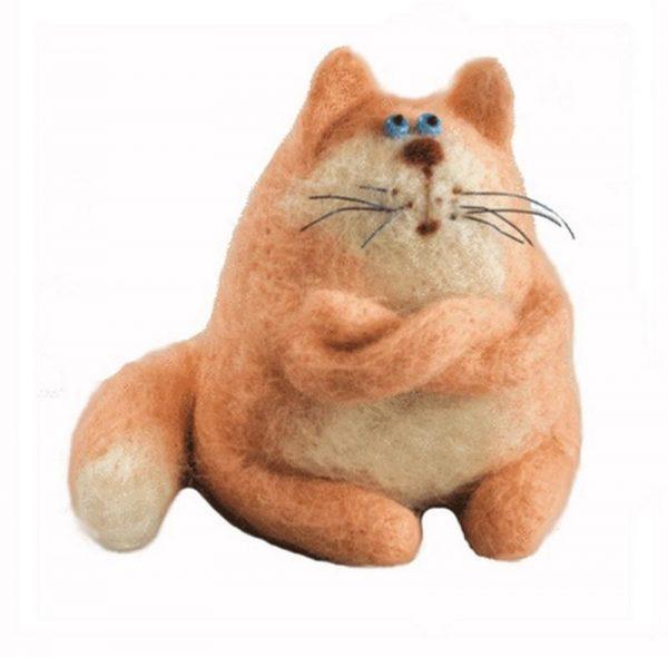 Рыжий котик в технике валяния